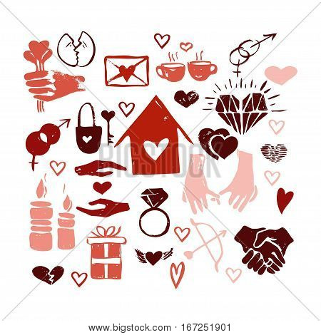 Vector hand drawn valentine icons set. Love couple home relationship holiday theme. Red isolated icons for polygraphy web design logo app UI.