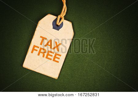 Tax free tag with copy space background