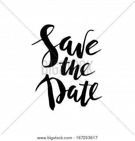Hand drawn black ink save the date brush script lettring.