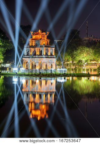 Night View Of The Turtle Tower On The Hoan Kiem Lake In Hanoi