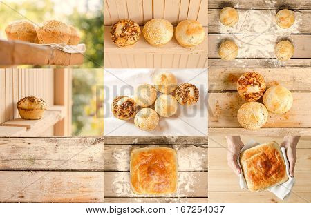 Bakery Product Collage. Collage Of Delicious Buns And Bread. Tasty Cooking Concept For You. Cooking