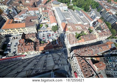 Aerial View Of Turin From The Building Called Mole Antonelliana
