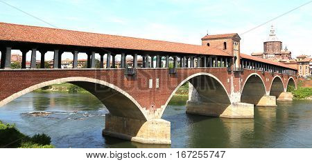 Wooden Bridge Over The Ticino River In Pavia City In Italy