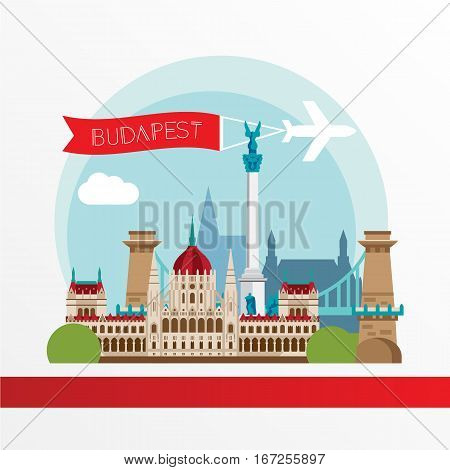 Budapest detailed silhouette. Trendy stylish colorful landmarks. The concept for a web banner. Chain Bridge and the Hungarian Parliament Building - The symbol of Hungary