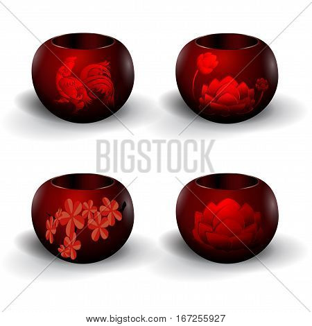 A set of pots for flowers, Ikebana. With a picture of cherry, a cock and a lotus. Isolated on white background with shadow. Vector illustration