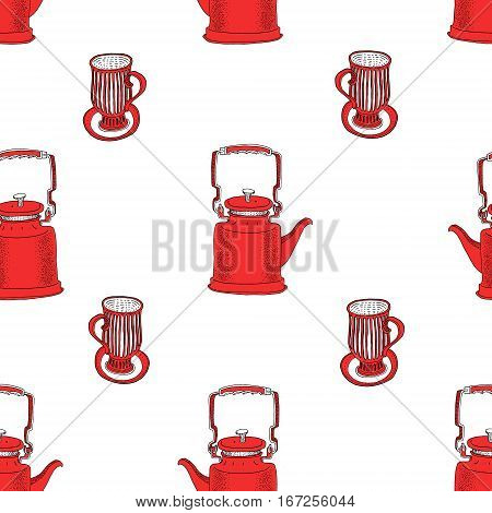 Seamless pattern with tea pots and tea cups. Hand drawn