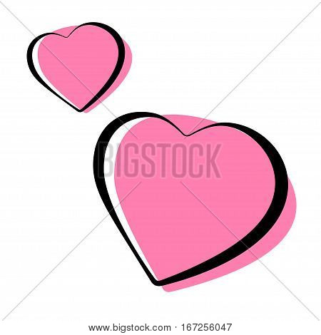 Pink heart shaped outlined icons. Stock vector illustration.