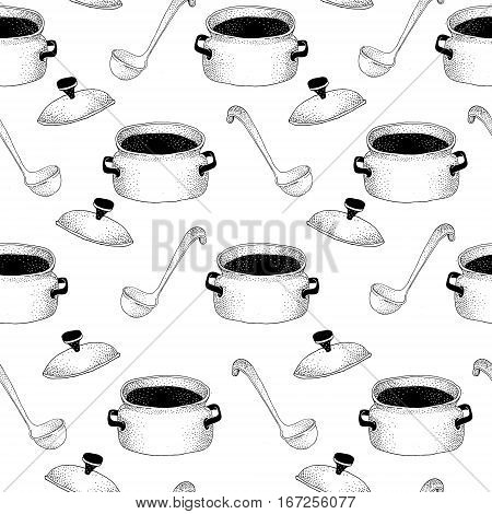 Seamless pattern with pan and Soup ladle. Hand drawn