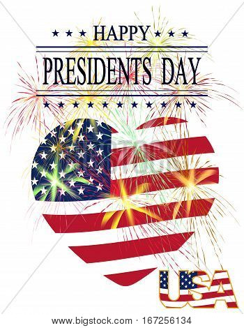 Presidents Day. Greeting card with celebratory fireworks on a white background. Isolated. Greeting inscription. vector illustration