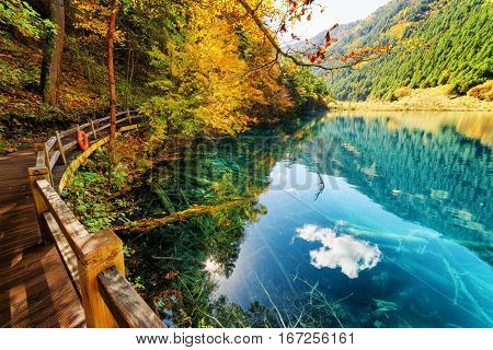 Wooden Boardwalk Leading Along Amazing Lake With Azure Water
