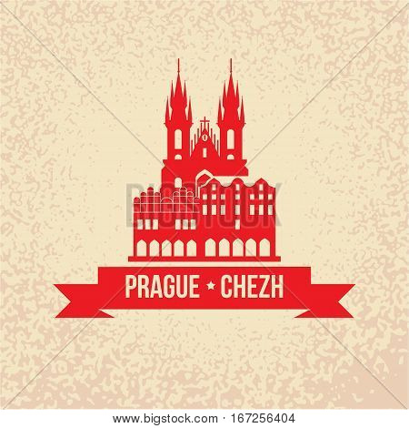The Church of Mother of God before Tyn, often translated as Church of Our Lady before Tyn. The symbol of Prague, Chezh Republic. Vector silhouette. Icon for travel agency. Retro vintage design