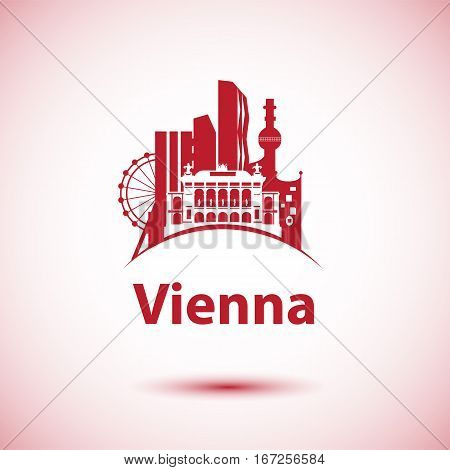 Vector city skyline with landmarks Vienna Austria. Vector illustration can be used as logo
