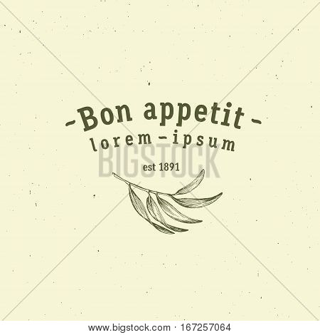 Bon Appetit sign. Vector logo icon template for restaurants or cafe with vegetarian