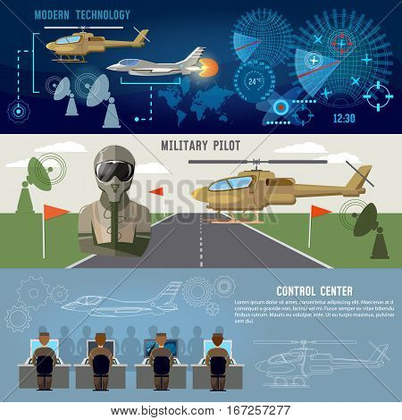 Army air force banner planes and helicopters military pilot air doctrines. Modern military center. Radar screen with planes air force concept
