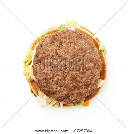 Opened burger sandwitch isolated over the white background, top view above
