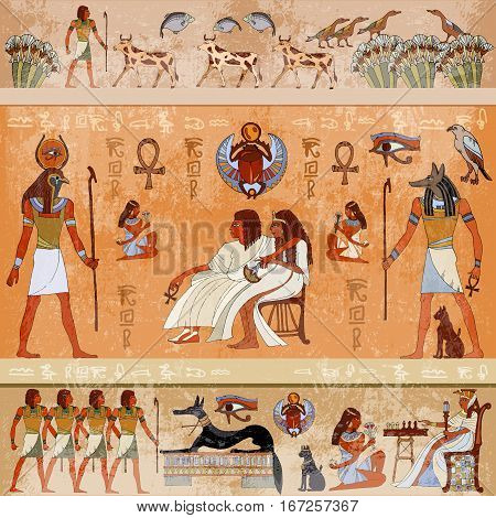 Ancient Egypt scene mythology. Egyptian gods and pharaohs. Hieroglyphic carvings on the exterior walls of an ancient temple. Murals ancient Egypt
