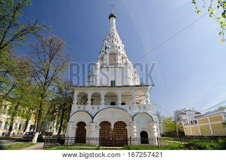 YAROSLAVL RUSSIA - MAY 8 2016: Russian ortodox chapel in Yaroslavl Russia. Golden ring of Russia