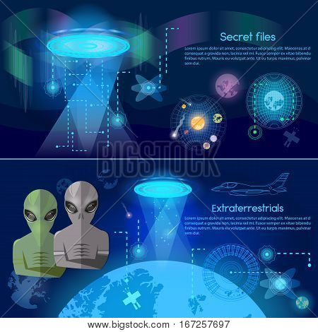 UFO banner aliens in space secret files kidnapping extraterrestrial beings alien spaceship UFO in dark night sky