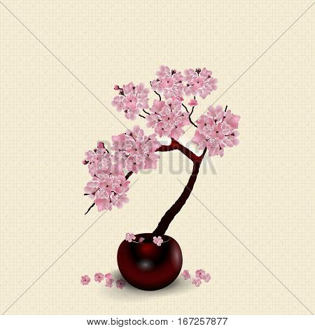 Ikebana. Composition. Figure lush Sakura flower. Against the background of stylized rice paper with shadow. vector illustration