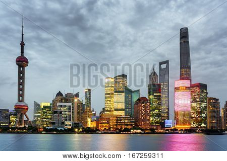 Evening View Of Pudong Skyline, Lujiazui, Shanghai, China
