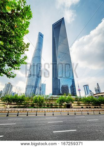 Bottom View Of Skyscrapers, Downtown Of Shanghai, China
