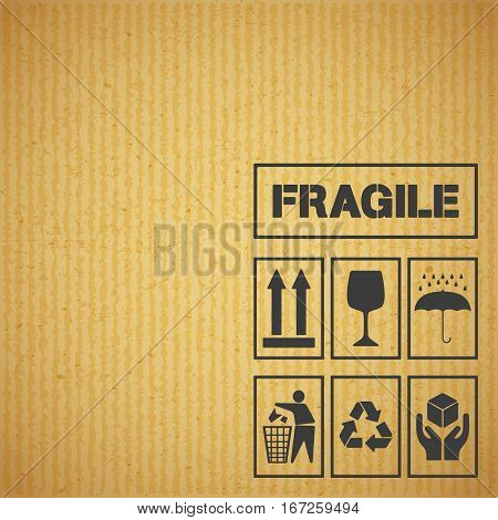 Package handling labels on cardboard background. Fragile this side up glass keep dry keep clean recycling handle with care symbol. Vector illustration.