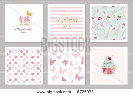 Birthday cards set for teenage girls. Including seamless patterns in pastel pink. Sweet 16 butterflies cupcake polka dots Eiffel tower stripped. Vector EPS10.