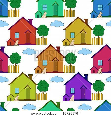 Seamless Background with Colorful Small Cartoon Country Houses with Dog Kennel and Garden Tree, Isolated on White Background. Vector