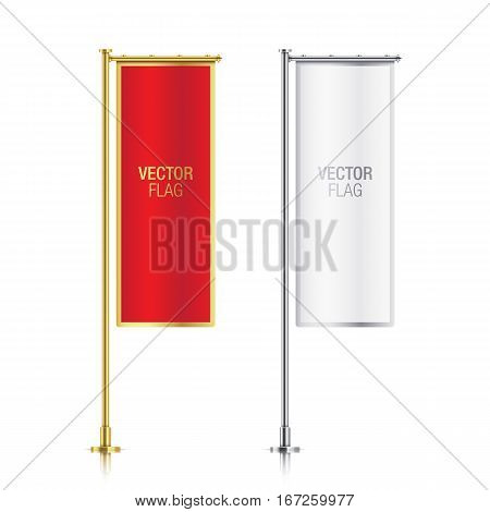 Set of red and white vector banner flag templates, hanging on a golden and silver poles. Red and white elegant vertical flag mockups, with golden and silver strokes, isolated on a white background.