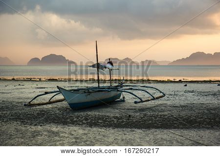 Sunset on Philippines beach  - Corong Corong beach, El-Nido, Palawan, Philippines