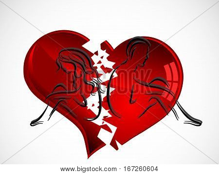 Silhouettes of young couple and broken heart