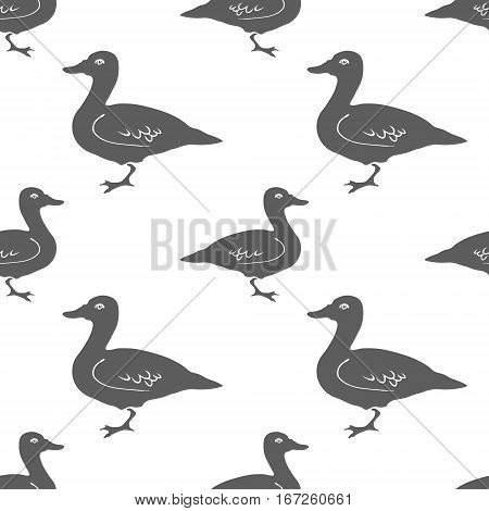 Hand Drawn Duck silhouette seamless pattern. Vector Illsutration