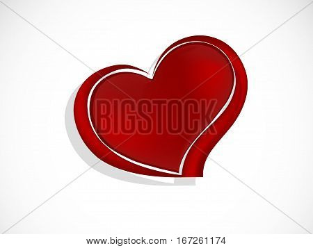Abstract red heart on white background - vector illustration