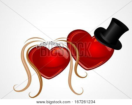 Two abstract red hearts with wedding elements