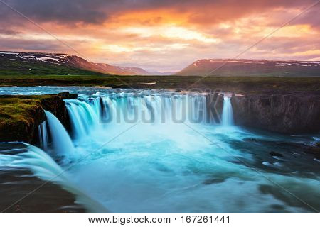 Godafoss waterfall on Skjalfandafljot river, Iceland, Europe.
