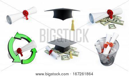 Graduation hat diplom set on a white background 3D illustration