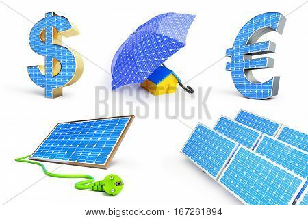 solar panel set on a white background 3D illustration