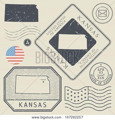 Retro vintage postage stamps set Kansas United States theme vector illustration