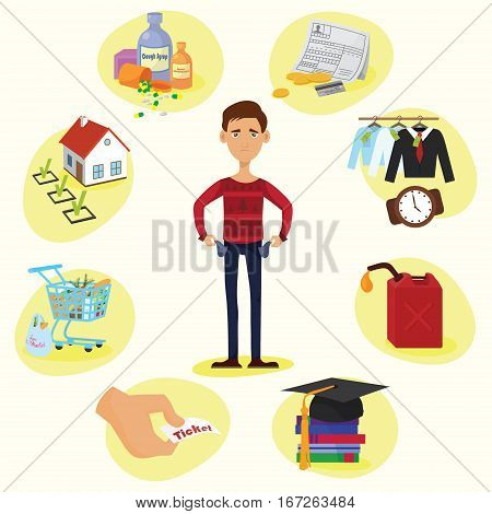 Family budget composition of full length male character with empty pockets surrounded by valuable things circle vector illustration