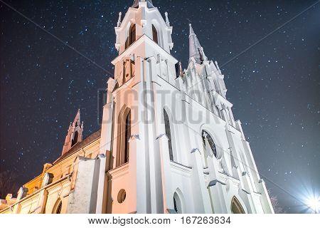Church in Boleslaw by night in Poland