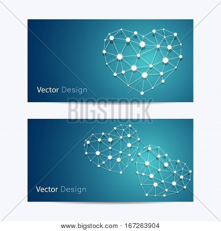 Set of horizontal banners. Abstract white hearts made of connected lines and dots on blue background. Business, science, medicine and technology design.
