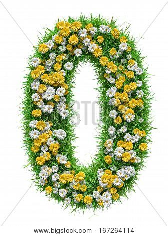 Number 0 of Green Grass And Flowers, isolated on white background. 3D illustration