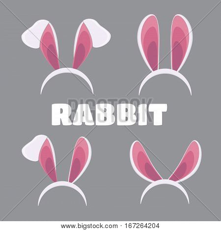 Easter masks set. Vector rabbit ears masks collection for Easter vector