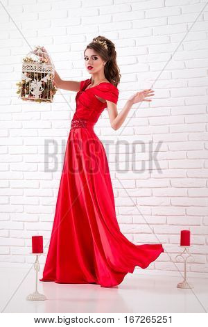Elegant Woman In A Long Red Dress Is Standing In A White Room And Holding Cage For Birds, Dress Flas