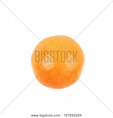 Single chewing candy close-up image isolated over the white background