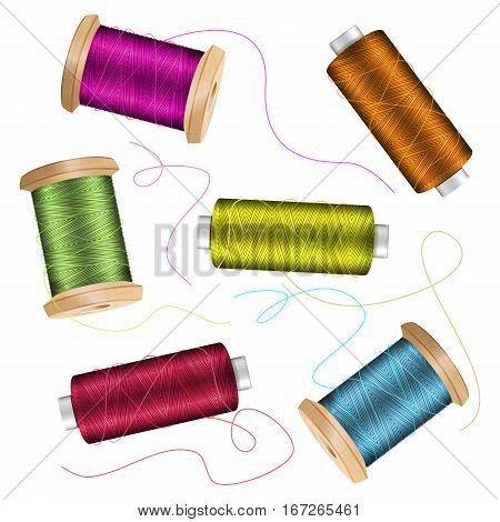 Thread Spool Set Background. For Needlework And Needlecraft. Stock Vector Illustration Of Yarn Or Cotton Bobbin Reels. Isolated On White Background