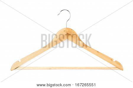 Single white wooden hanger isolated over the white background