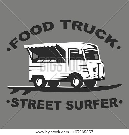 Food truck emblems and logo with surf board on grey background. Street surfer food truck. Vector illustration