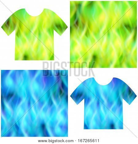 Fire Seamless Background of Various Colors, Solid Wall of Blazing Blue and Green Flames, Colorful Tile Pattern for Your Design, Presented in Tank Tops. Eps10, Contains Transparencies. Vector