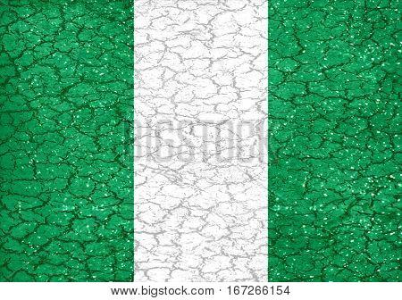 Nigeria Grunge Style National Flag